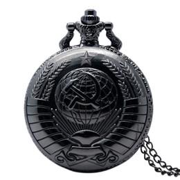 2019 gancho lleno Hombres negro o plata Full Hunter Soviet Hook Hammer Reloj de bolsillo de cuarzo Cool Colgante Collar Regalos de cumpleaños rebajas gancho lleno