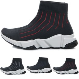 Wholesale white baby boy socks - New Fashion Baby Kids Socks Boots Children Athletic Shoes Slip-On Casual Flats Shoes Speed Trainer Boy Girl High-Top Running Shoes Black Red