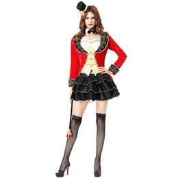 Dia das bruxas quente Traje Cosplay Sexy Lady Magician Circus Mestre Feminino Veludo Vermelho Terno Palhaço Palhaço Partido Mulheres Vestido W158827 de