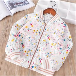 Wholesale Lovely Winter Coats - Everweekend Girls Floral Zipper Pocket Jacket Sweet Baby White Color Coat Lovely Kids Spring Autumn Outerwear