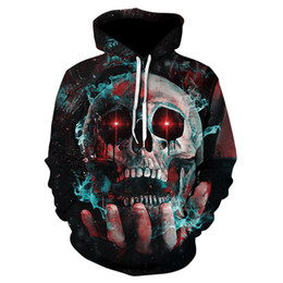 Wholesale 3d Sweaters - 2018 new casual men women 3D hand smoke skull head Printed Color Large Size Hoodie Sweatshirt hip hop tops female hoody Couple sweater