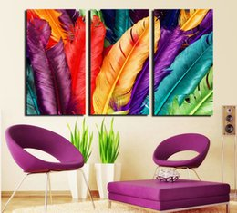 Cuadros pittura online-Multicolore Quadro Dipinto Cuadros Tela Pittura Wall Art Home Decor Per Soggiorno Senza Cornice Look Fresco Colore Piuma