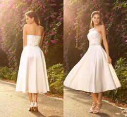 4dff57c0220 satin tea length skirt 2019 - Tea Length Wedding Dresses With Pleats Beads  2018 Crystal Sash