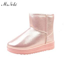 Wholesale Girls Leather School Shoes - winter waterproof snow boots women platform warm plush ankle boots pu leather flat heel girls cotton school shoes