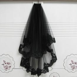 f3f481c8ae 2019 novias velo negro Velos de novia cortos Decoración de Halloween Negro  con peine Apliques de