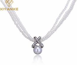 Wholesale girls pearls chunky necklace - XIYANIKE Statement Women Girls Choker Chunky Simulated Pearl Necklace Vintage Bib Necklace Pendant Fashion Jewelry N242