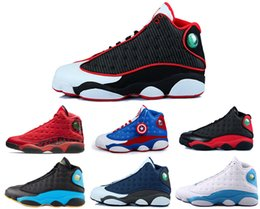 Wholesale Cat Footwear - 13s Bred basketball shoes for kids Retro 13 Black cats History of Flight Sports sneaker boy and girl children athletic footwear