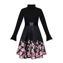 vestidos de flores de longitud media Rebajas 2018 otoño nueva A-line falda de moda para mujer de manga larga delgada delgada vestido de costura de costura vestido de manga larga vestido de columpio grande