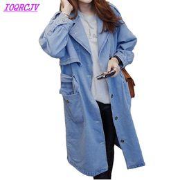 Canada Denim Trench-Coat pour les femmes 2018 Printemps automne Jeans grande taille Coupe-vent Lâche femelle Casual hauts manteaux longs IOQRCJV H516 supplier womens denim coats Offre