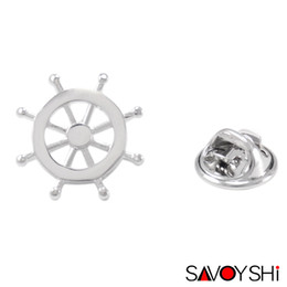 Wholesale Novelty Wedding Anniversary - SAVOYSHI Novelty Silver Rudder Shape Men Lapel Pin Brooches Pins Fine Gift for Mens Brooches Collar Party Gift Brand Men Jewelry