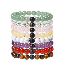 Wholesale Power Balanced - JLN Balancing Energy Stone Bracelet Power Beads Diffuser Quartz Semi-Precious Healing Stone Couple Stretch Bracelets Gifts For Men Women