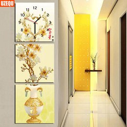 Wholesale Triptych Abstract Paintings - wholesale UzeQu Triptych Full Diamond Embroidery Wall Clock DIY Diamond Painting Cross Stitch Watch Flower Tree Diamond Mosaic Home Decor