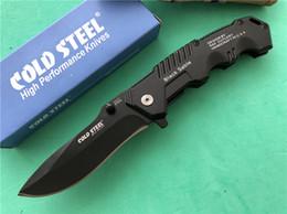 Couteaux d'ouverture en Ligne-Cold Steel HY217 Couteau à lame pliante Lame en acier 7Cr17 Plain Couteau de poche à ouverture manuelle EDC Noir sable FBA Couteaux tactiques
