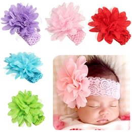 Wholesale Baby White Flower Headband Bow - Baby HairBands Floral For Girls Hot Selling KLV Kids Headband Girls Flower Headband Lace Bow Hairband Flower Headbands