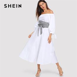 1a2be7943b90 SHEIN White Highstreet Office Lady Lantern Sleeve Bardot Off the Shoulder  Dress With Plaid Belt 2018 Autumn Women Casual Dresses