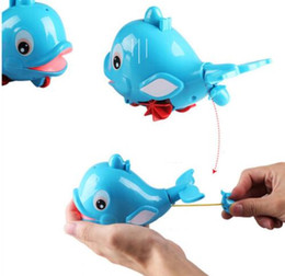 Wholesale pull girl - Plastic Dolphin Shaped Water Spray Bath Toy the Best Popular Gift to Baby Girls Boys Dolphin Water spray Pull line KKA5563