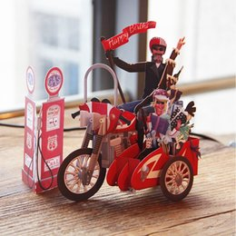 Wholesale Greeting Cards Supplies - Wholesale- Birthday Motorcycle Bike 3D paper laser cut pop up handmade post cards custom gift greeting cards souvenirs party supplies