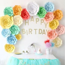 Wholesale birthday room decorations - 2pcs set 20cm Wedding Decoration Paper Flowers DIY Birthday Party Artificial Flower Home Baby Room Backdrop Decor Supplies CCA9772 50set