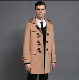 Wholesale Casaco Inverno Masculino - Hooded casual woolen coat men horns buckle trench coats overcoat mens cashmere coat casaco masculino inverno england autum