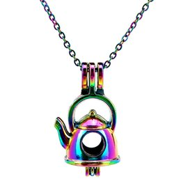 Wholesale teapot necklaces - C623 Rainbow Color The fairy tale teapot Mr Beads Cage Pendant Essential Oil Diffuser Aromatherapy Pearl Cage Locket Pendant Necklace