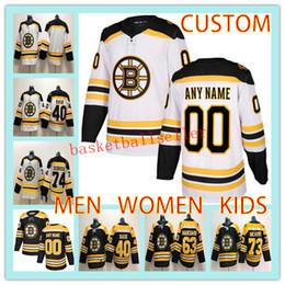 Benutzerdefinierte BOSTON MEN WOMEN KIDS Hockey-Trikot jeder Name Nummer 40 Tuukka Rask 63 Brad Marchand 73 Charlie Mcavoy-Eishockeytrikot von Fabrikanten
