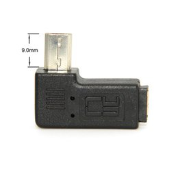 Wholesale Usb Male Plug Connector - 9mm Long Connector Plug 90 Degree Left & Right Angled Micro USB 2.0 5Pin Male to Female Extension Adapter Adaptor