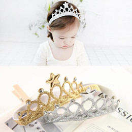Wholesale Tiara Glitter Headbands - New Arrival Glittering Crown Headband Girls Hair Band New Head Wrape Hair Accessories Princess Tiara Headband