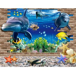 Wholesale Decorative Pvc Wall Paper - Wholesale- 2016 60*90cm Wallpapers 3D Ocean World PVC paper PVC Wall paper Removable Waterproof Decorative Decor Free Shipping DP130