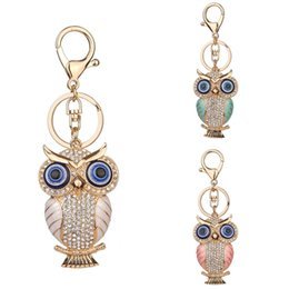 wholesale diamond keys Coupons - Popular Alloy Diamond Colored Owl Keychain Ladies Bag Pendant Car Accessories Pendant Key Chains 3 Styles Fashion Jewelry Free DHL D955Q