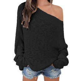 Wholesale White Oversized Sweater - Sweater Fashion Women Sexy Off Shoulder Casual Pullover Sweater Loose Knitted Tops Oversized Knitwear Jumper WS2349M