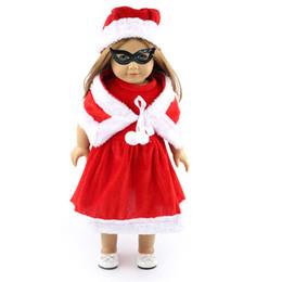 Schal für rotes kleid online-Weihnachtskleidungs-rotes Kleid-Schal-Hut stellte für alle 18 Zoll-Mädchen-Puppen-Geschenke ein 1pc Kleid-Schal-Hut-Weihnachtsdekoration