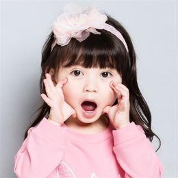 cercles en perles Promotion Gaze scrown enfants cheveux nouveau printemps et d'été bébé cheveux cerceau dentelle perlée coiffe fille en mousseline de soie enfants cheveux accessoires KHA733