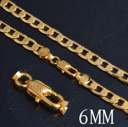73733230df21 20 pulgadas 6 MM lujo 18K chapado en oro collar de cadena Miami Hip Hop  joyería para hombres