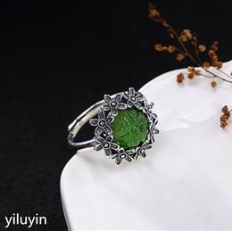 945c6d6db8c3 Joyas KJJEAXCMY Boutique S925 Plata de ley con incrustaciones antiguas y jade  de campo Jasmine ciruela señora anillo abierto de alta gama jasmine jewelry  ...