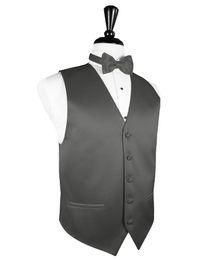 formal grey mens vest UK - 2018 New Arrival Mens Charcoal Grey Tuxedo Vest Bowtie Set Formal Groomsmen Wedding Plus Size