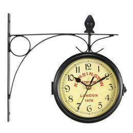 e3830113524 relógio pendurado Desconto Vintage Decorativo Dupla Face De Metal Relógio  de Parede Estilo Antigo Relógio de