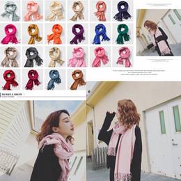 sciarpa variabile Sconti 22styles donna frange solido scialle sciarpa calda imitazione cashmere wrap fazzoletto variabile sciarpa coperta 210 * 70 cm FFA791 100 pezzi