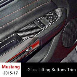 Wholesale button lifts - Carbon Fiber Door Armrest Panel Trim Interior Decor 2pcs For Ford Mustang 2015-2017 Window Glass Lifting Buttons Frame Decoration