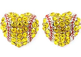 2019 araña multicolor Rhinestone amarillo redondo amarillo perno prisionero de softball pendientes / regalo para la mamá del deporte mancha el regalo del equipo para su softball mamá moda pendiente perno prisionero gancho
