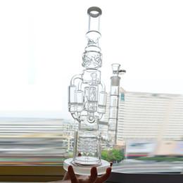 """Стеклянные водопроводные трубы большие 18 онлайн-Big Glass Water Bong Recycler Oil Rig 4 Rocket Honeycomb Perc Bubbler Dab Rig 18 """"дюймов Функциональный канонер Ice Catcher Pipe Beaker Bong"""