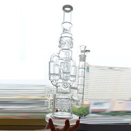 "Tubi di acqua di vetro grande 18 online-Big Glass Water Bong Recycler Piattaforma petrolifera 4 Rocket Honeycomb Perc Bubbler Dab Rig 18 ""pollici Funzionale Ice Catcher Narghilè Beaker Bong"