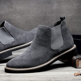 Wholesale Low Ankle Boots For Men - 2017 Men Vintage Suede Chelsea Suede Leather Boots British Style Men's Ankle Boot For Autumn Winter Male Nubuck Leather Boots