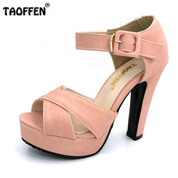 Wholesale High Heels Size 32 - TAOFFEN Size 32-43 Women's High Heel Sandals Peep Toe Ankle Strap Heeled Sandal Platform Shoes Women Party Ladies Footwear