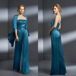 Calças elegantes da noite do laço on-line-2018 Elegante Duas Peças Elegante mãe da noiva vestidos Pant Ternos Lace Applique Plus Size mãe da noiva vestido de noite vestidos