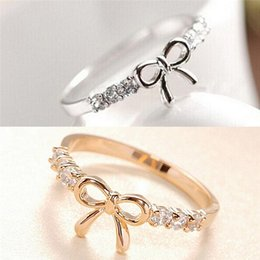 Wholesale Knot Ring Gold - whole saleSimple Crystal Bow Ring Jewelry Fashion Sparkling Bow Knot Rings Jewelry For Women Korean Silver   Gold Color