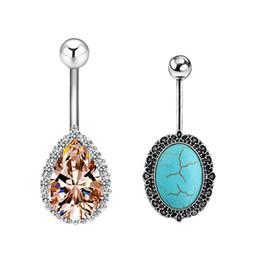 Wholesale Pierced Earring Chain - Belly Button Ring Navel Piercing Nombril Ombligo Stud Epoxy Crystal Ferido Disco Balls Body Jewelry Earring