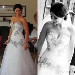 Clássico vestir-se on-line-2018 clássico de cristal sereia vestidos de casamento querida vestidos de noiva bling bling tulle frisado lace up voltar sweep trem vestido de noiva
