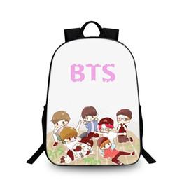 Wholesale Korean Fashion For Boys - Korean Women Daily Backpack BTS Printing School Bag for Teenage Girls Boys Waterproof Travel Bag Nylon Student Laptop Backpack