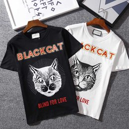 Wholesale Quick Head - Top quality Summer Cotton T-Shirts tee cat head print streets Luxury black white 615