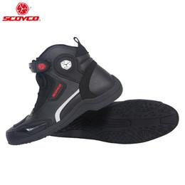 botas de montar de cuero negro de los hombres Rebajas Botas de cuero de la motocicleta de los hombres Botas de la carrera de Motocross MX Zapatillas de montar de la moto Moto Color negro SCOYCO MT015